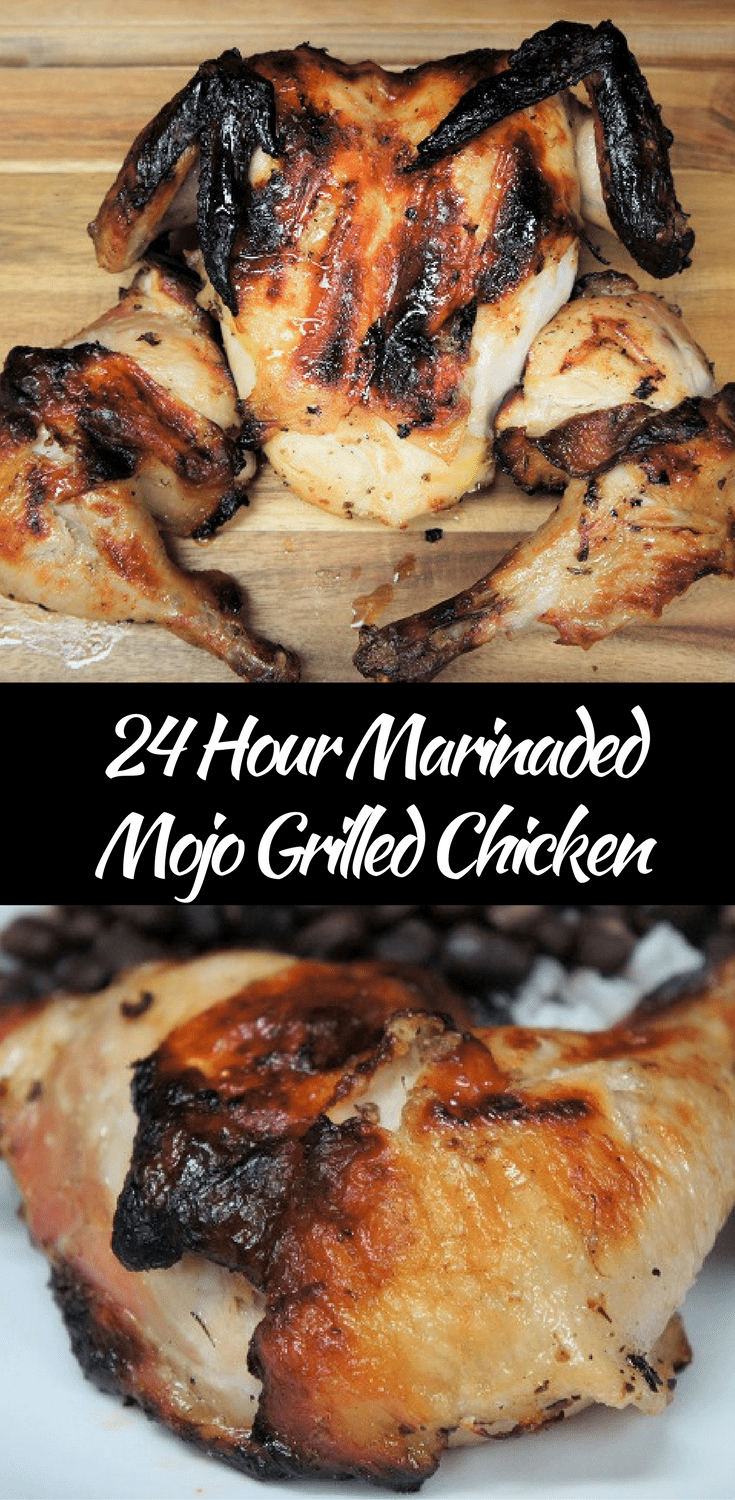 This whole chicken is butterflied and marinated in a homemade mojo for 24 hours. Then it's grilled, low and slow until juicy, tender and so flavorful that it will become your favorite chicken. #mojochicken #mojomarinade #Cubanchickenrecipes #mojomarinatedchicken #bbqchicken