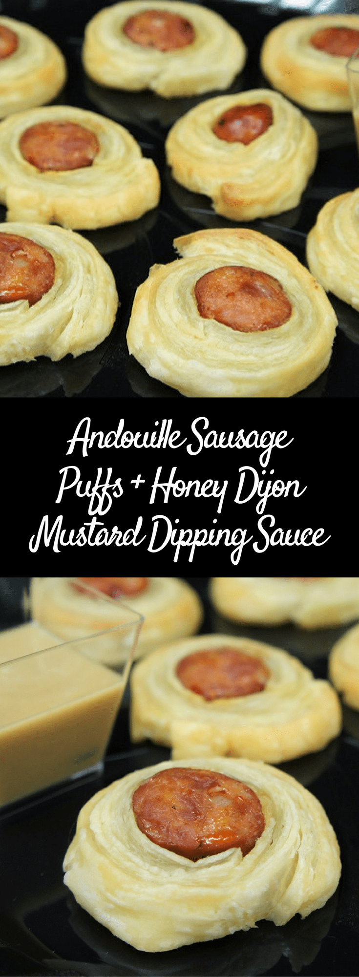 These Andouille Sausage Puffs are a fancy take on pigs in a blanket. This party favorite gets a grown-up twist with spicy andouille sausage and puff pastry. Here we serve them with a simple honey and Dijon mustard dipping sauce. #andouillesausagepuffs #andouillesausage #pigsinablanket #appetizers #partyfood #holidayappetizers