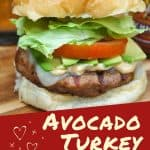 Graphic of the burger and text reading avocado turkey burger, image used for pinterest.