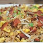 A large platter with Bacon & Eggs Fried Rice