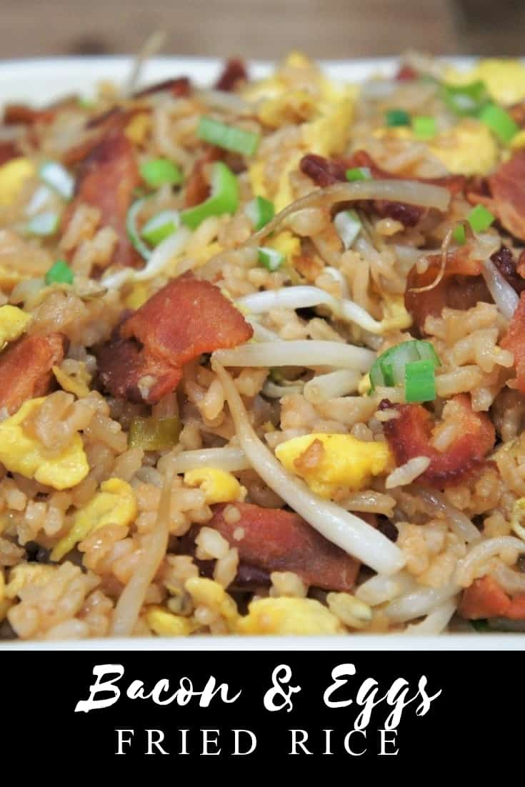 This Bacon & Eggs Fried Rice is quick, easy and affordable, perfect for busy weeknights or cheap eats when money is a little tight. You probably have most of what you need in your pantry and fridge already. Dig deep, I'm sure there's a bottle of soy sauce in there. #baconeggsfriedrice #friedrice #takeout #easyfriedrice