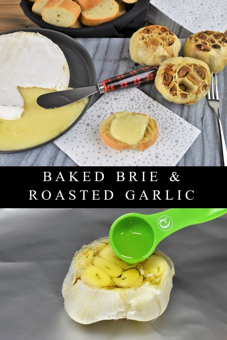 This baked brie and roasted garlic makes a simple, delicious appetizer. In this recipe, garlic is roasted with olive oil until golden, and so soft it spreads like butter. Then the garlic is spread onto lightly toasted baguette slices and topped with a generous amount of melted brie cheese. It's a lovely appetizer for a holiday or cocktail party.