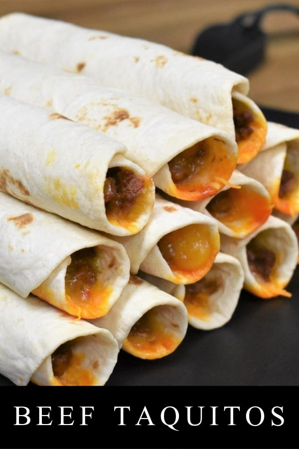 These beef taquitos are super easy to make, and perfect as an appetizer or dinner. Lean ground beef is seasoned with a southwestern inspired spice blend and cooked with tomato sauce to make a flavorful and delicious taco filling. We add shredded cheddar jack cheese and use flour tortillas to roll the taquitos. Then we bake them until they're hot and crispy. Serve these taquitos with a spicy cream and fresh salsa and watch them disappear. #beeftaquitos #appetizers