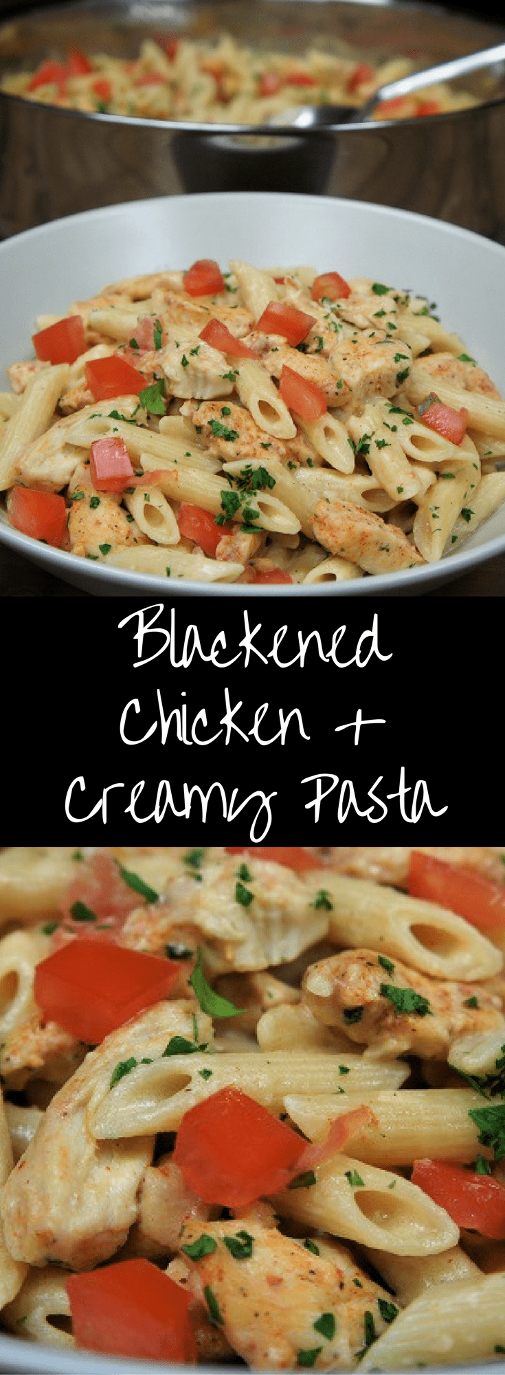 This blackened chicken & creamy pasta is a quick, affordable and delicious dinner your family will love. #chickenrecipes #creamypasta #pasta #blackenedchicken #easyrecipes #easydinnerrecipes #creamychickenandpasta