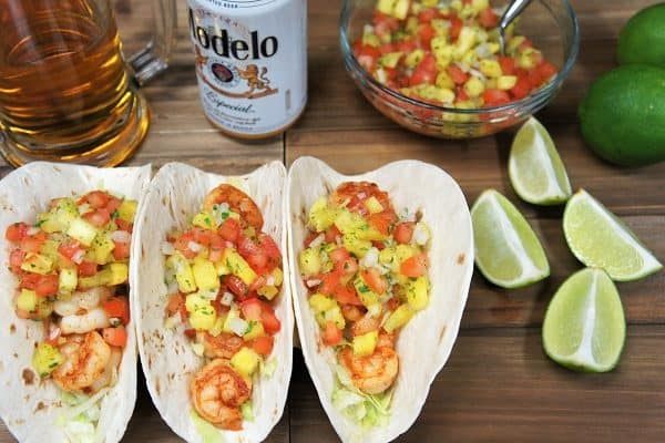 Blackened Shrimp Tacos & Pineapple Salsa