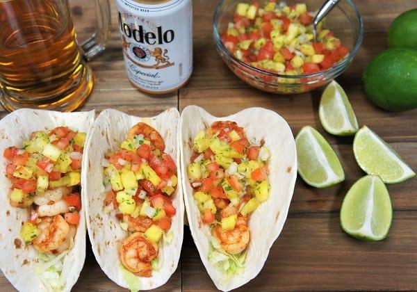 Blackened Shrimp Tacos & Pineapple Salsa