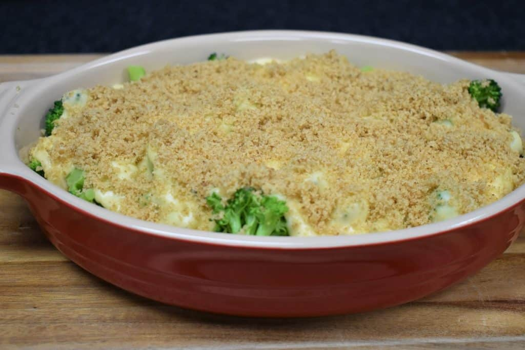 Broccoli Cheese Casserole Covered with Breadcrumbs
