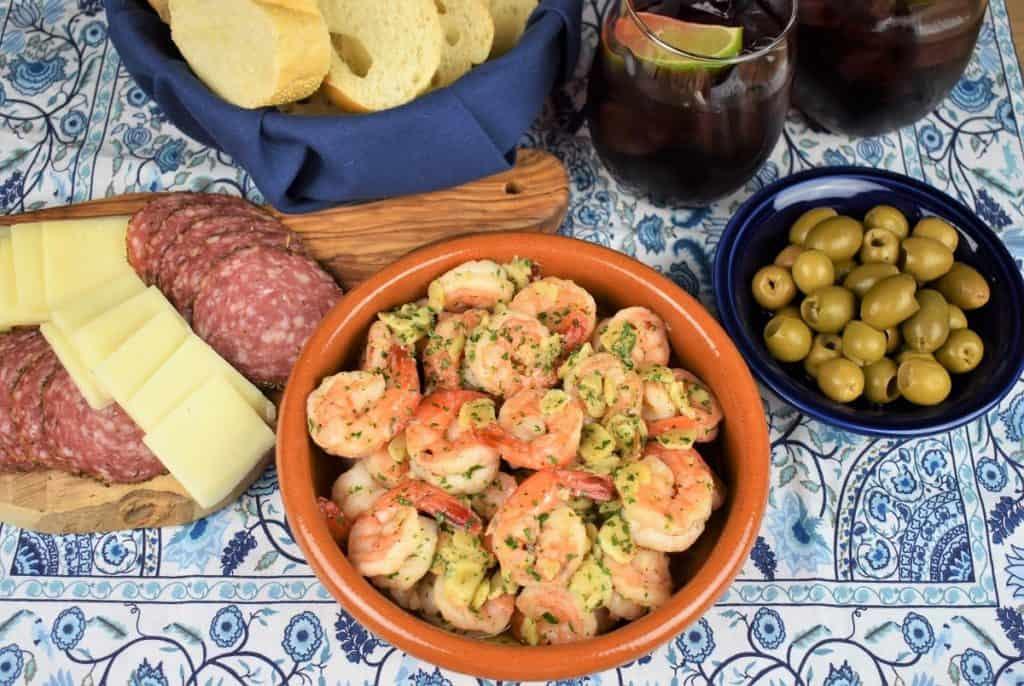 Camarones al Ajillo with Other Tapas