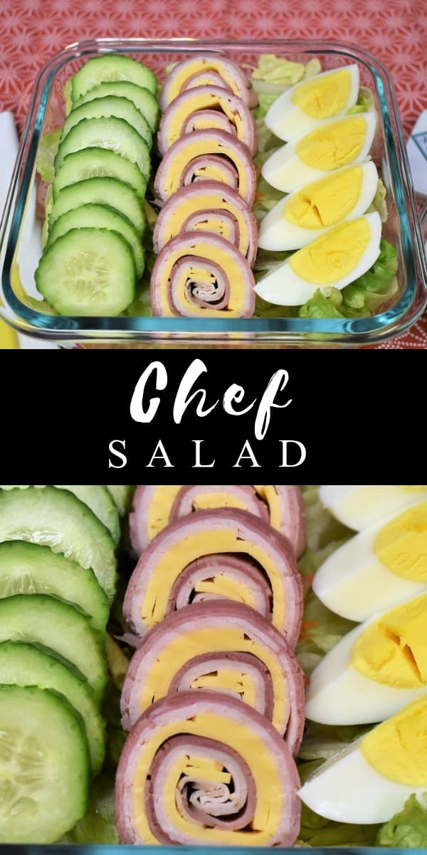 If you're looking for a fun salad for the kids or to pack for your own lunch bag, this chef salad is a great one to throw in the mix. This chef salad has the typical ham, turkey and cheese combo, but the roll-ups make them fun and pretty. Add some wholesome vegetables and a filling hard-boiled egg and you won't stay hungry.  #chefssalad #salad #lunchsalad #schoollunch #lunch