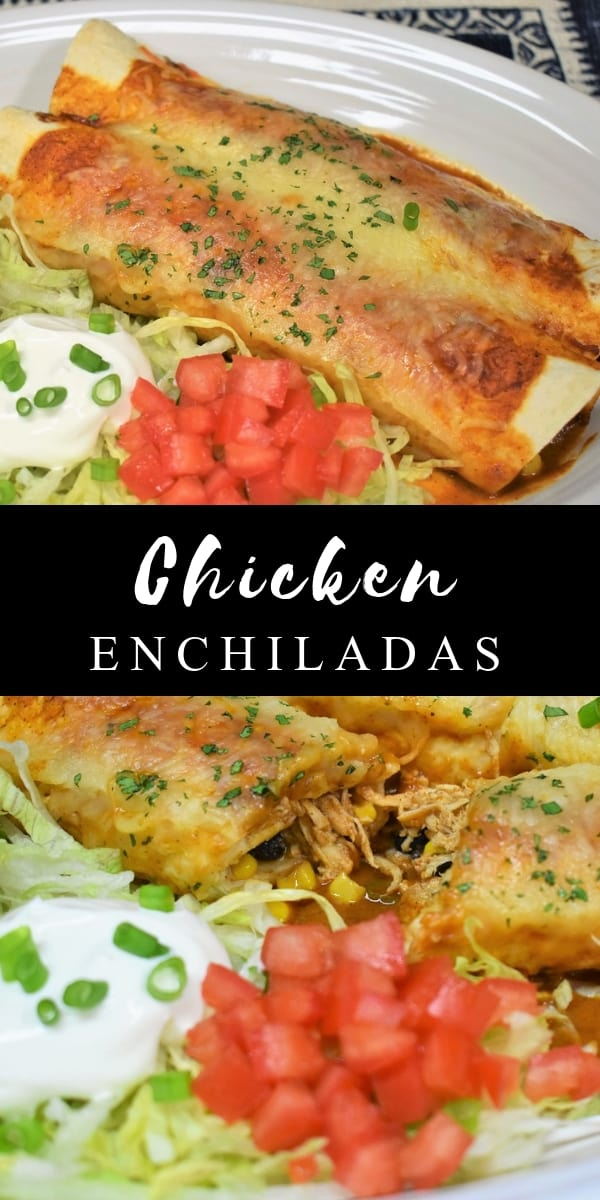 These shredded chicken enchiladas are easy to make and so good. The chicken and the enchilada sauce cook quickly and building the enchiladas is simple. In this recipe, flour tortillas are stuffed with shredded chicken breast, corn and black beans. Then they're smothered in a super flavorful enchilada sauce and topped with Monterey jack cheese. #chickenenchiladas #enchiladas #chicken #Mexicanfood #southwestern #Mexican