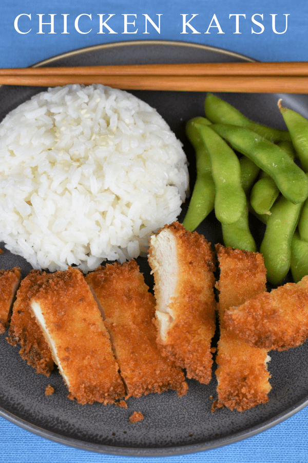 Chicken Katsu is a really easy way to shake up your dinner routine. Chicken cutlets are breaded with panko breadcrumbs and fried until golden and delicious. Serve the chicken katsu with teriyaki sauce and a side of jasmine rice and edamame for a complete meal your family will be asking for again. #chickenkatsu #chicken #katsu #Asianfood #pankobreadedchicken