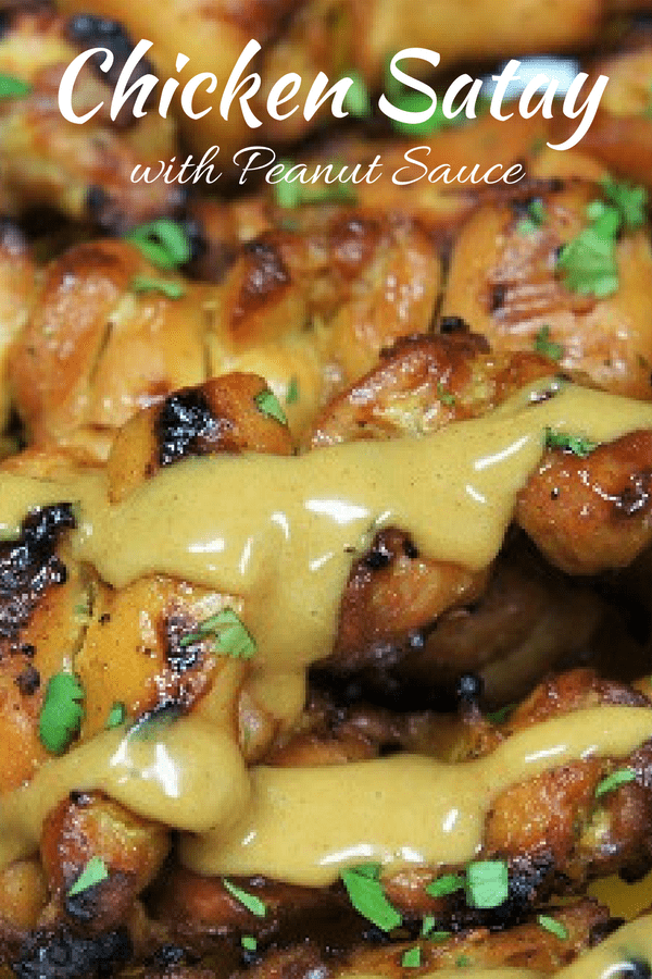 This chicken satay with a homemade peanut sauce is a really easy way to change up your dinner routine. The marinade is a cinch to make and the chicken grills ups really quick. The peanut sauce is super easy to make and absolutely delicious. #chickensatay #satay #chicken #easydinners #takeout #grilledchicken #peanutsauce