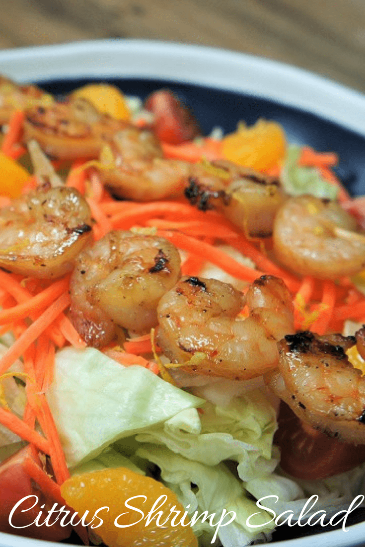 This citrus shrimp salad is easy, quick and delicious. It's great for warmer weather. It starts with a generous bed of lettuce, shredded carrots and sweet mandarin slices. Then it's topped with skewered shrimp marinated in a sweet citrus marinade and grilled. A homemade citrus dressing tops the whole thing off. #citrusshrimpsalad #salad #lunch #shrimp #gilledshrimp #summertimemeals #summertime #barbeque