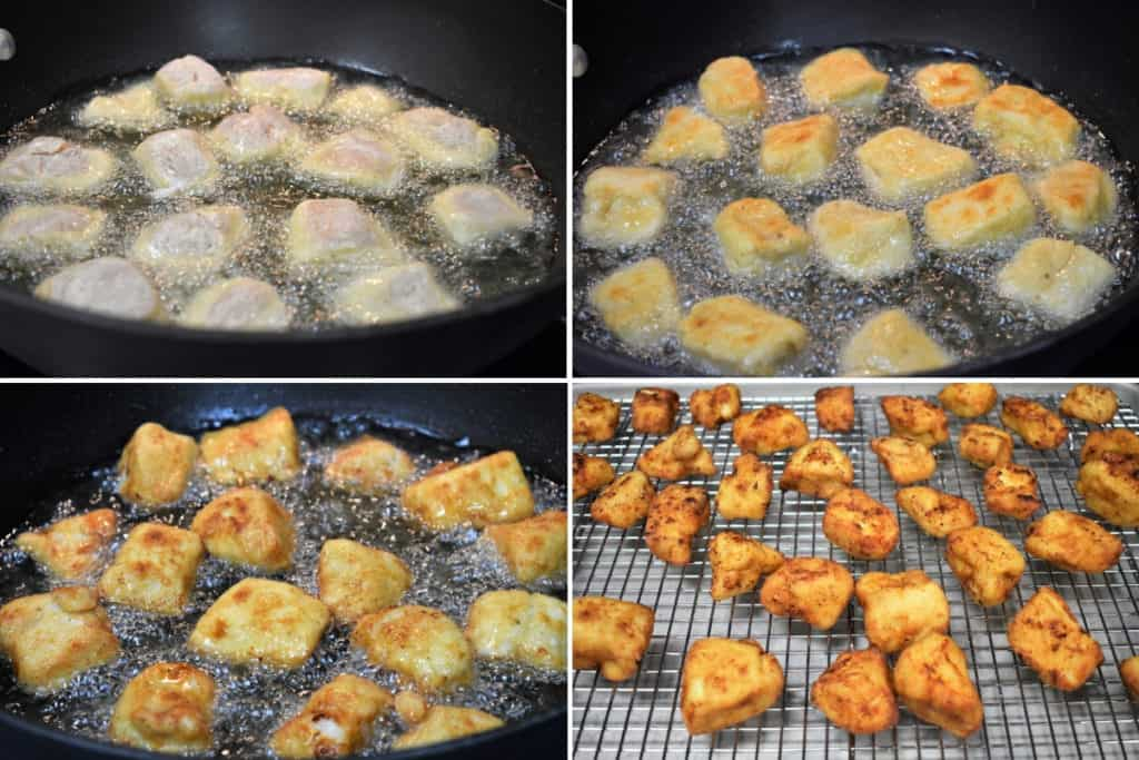 Four pictures in a collage of Frying Chicken Nuggets