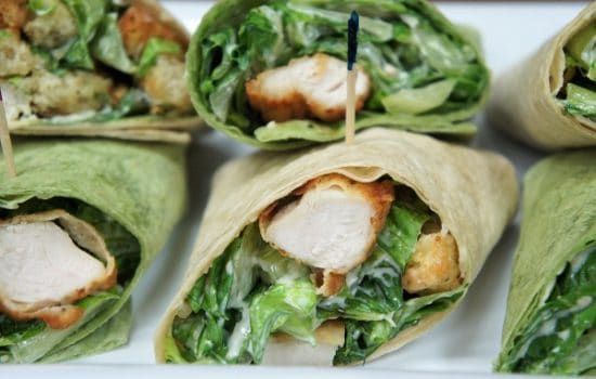 Crispy Chicken Caesar Salad Wraps