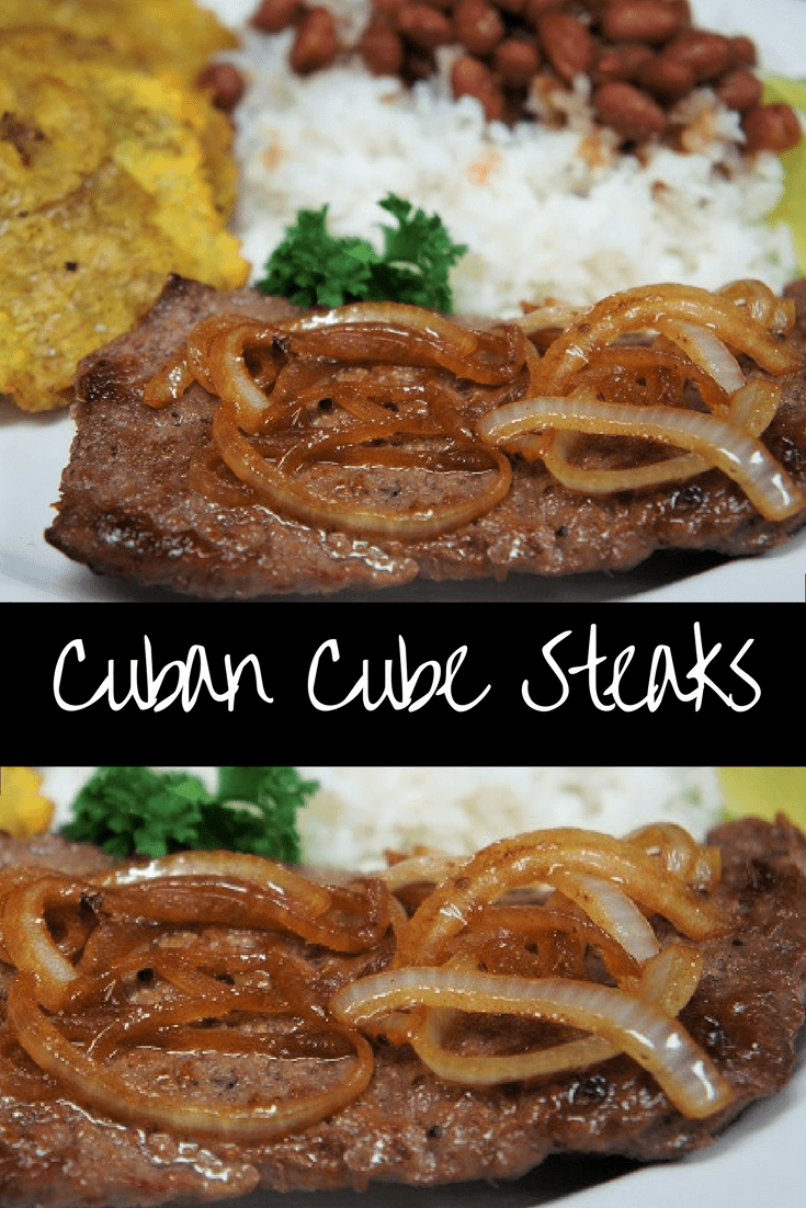 Need a quick, delicious dinner on a busy weeknight? Look no further than this Cuban Cube Steak. It's quick, easy and super flavorful. Using cube steak saves some cash too, since it's inexpensive yet tender. Serve the steaks with a side of white rice and beans for a complete meal that's affordable, delicious and filling. #Cubancubesteak #cubesteak #steak #beef #Cubanfood #Cubanrecipes #easydinners