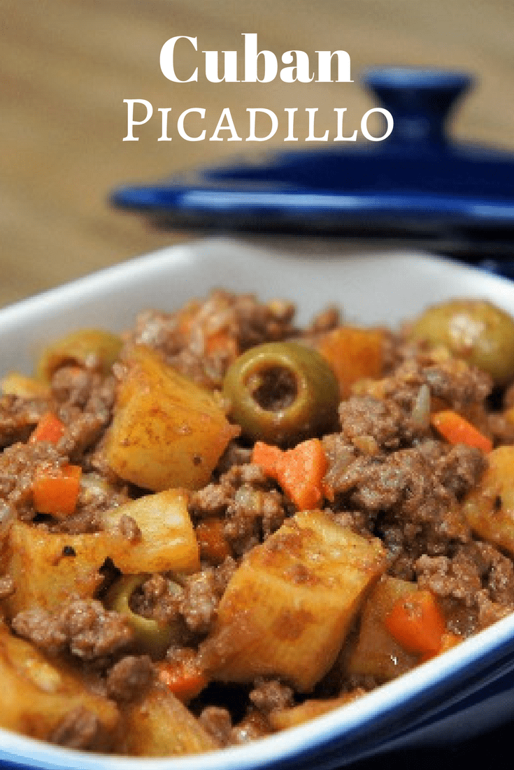 Cuban Picadillo is perfect comfort food. It's really easy to make too, and doesn't take all that long, so it's perfect for weeknight meals. In this recipe we go all out with fried potatoes, veggies, spices and salty olives cooked with lean ground beef and tomato sauce. The picadillo is served with white rice for a traditional Cuban dinner. #Cubanpicadillo #picadillo #groundbeef #beef #Cubanfood #Cubanrecipes