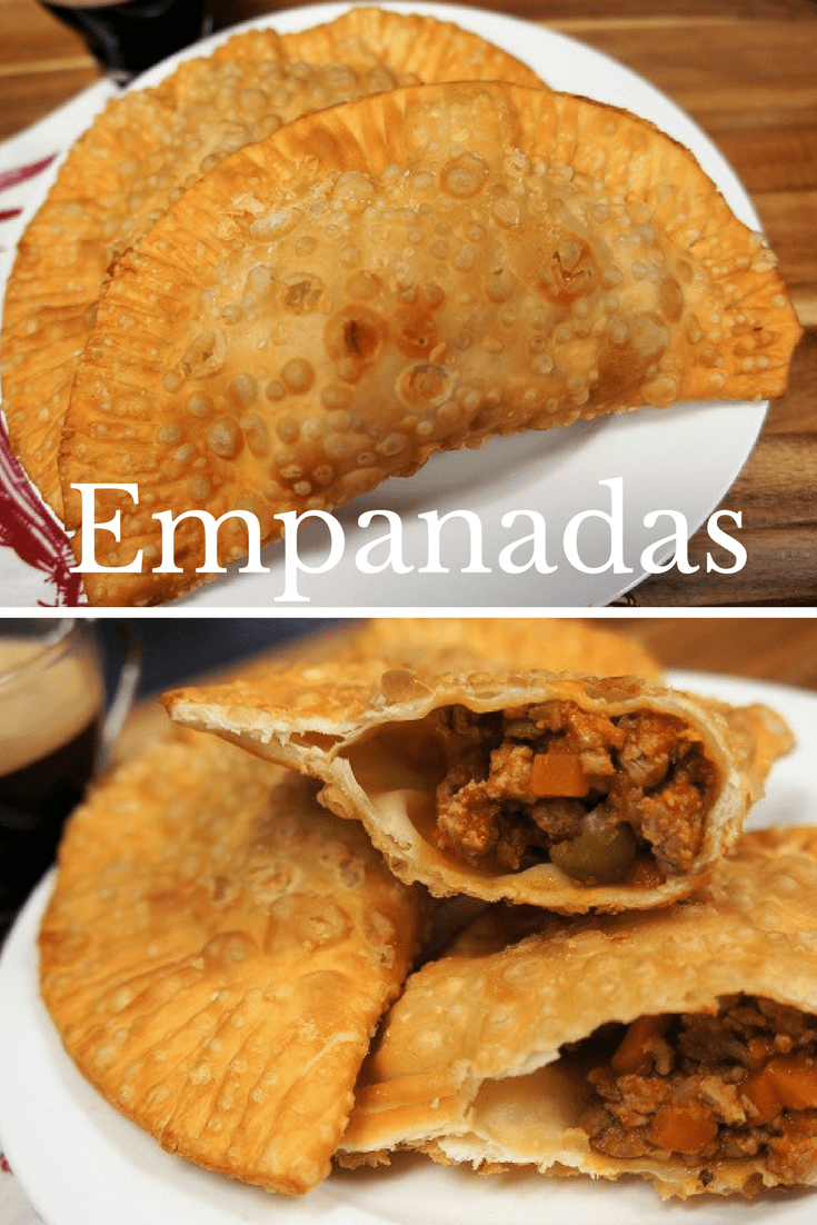Empanadas are stuffed pastries that are baked or fried. They're usually stuffed with savory minced meat like chicken, beef or chorizo. In this recipe I replace ground beef with ground turkey and make a (mostly) traditional Cuban picadillo. Then the empanadas are fried until golden. #empanadas #Cubanrecipes #Cubanfood