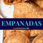 Two images of the fried empanadas. In the top one it is cut in half so that the filling can be seen. The pictures are separated by a blue graphic with the title in aqua letters.
