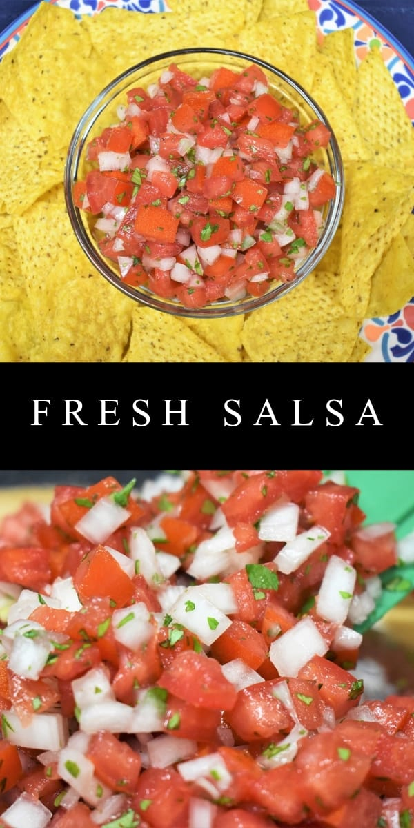 Fresh salsa, also called salsa fresca or pico de gallo, is a delicious combination of tomatoes, onions, cilantro, fresh peppers and salt. Traditionally, fresh salsa will include serranos or jalapeno peppers. In this recipe we skip the peppers altogether. We keep it fresh, simple and family friendly.