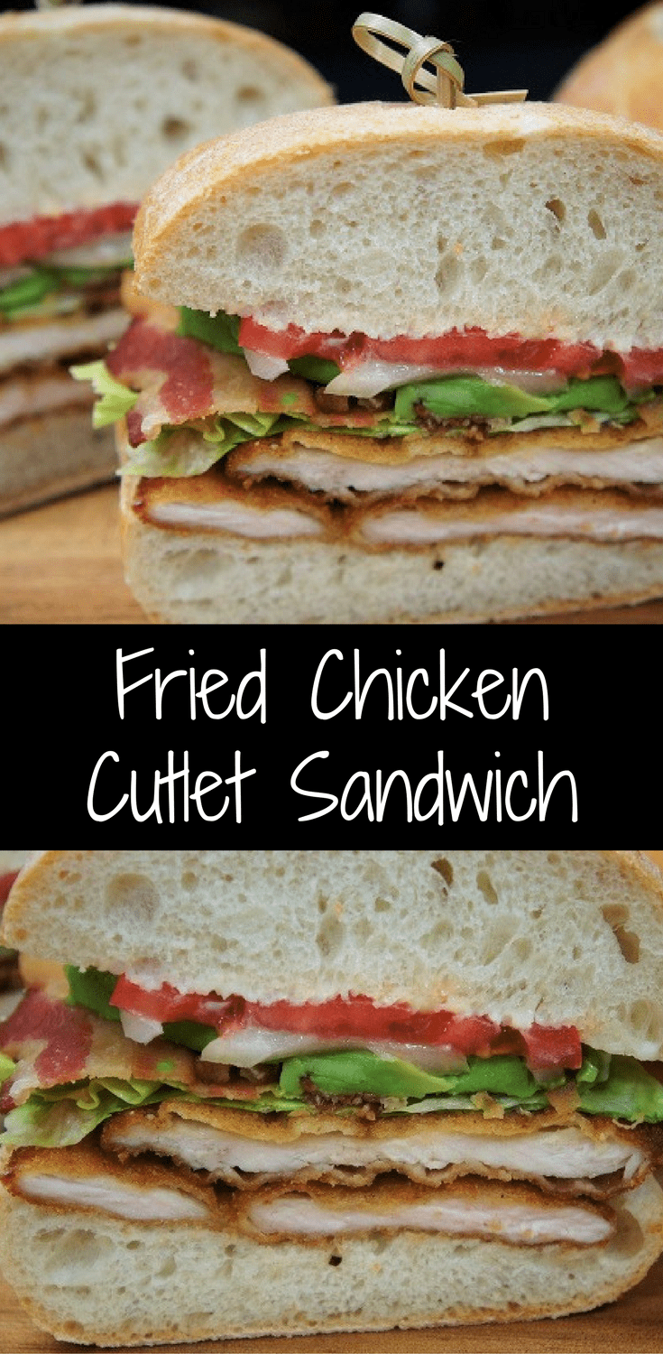 This fried chicken cutlet sandwich is great to make on a weekend night and enjoy with a cocktail (or two). Perfectly seasoned chicken cutlets are breaded and fried until golden and crispy. Then they're layered on ciabatta bread and topped with crispy bacon, lettuce, tomato, onions and avocado slices.