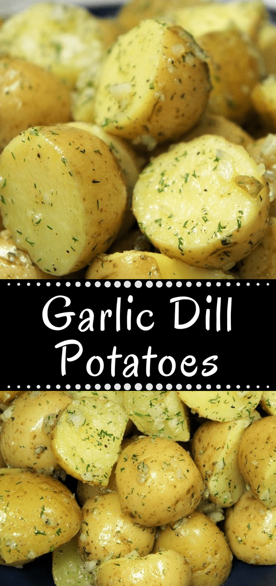 These Garlic Dill Potatoes are easy to make, and easy on the budget. This recipe requires just a few ingredients and it's quick to make; a perfect side dish for busy weeknights. Pair the garlic dill potatoes with chicken, pork or beef for a simple and delicious side dish. #garlicdillpotatoes #potatoes #sidedishes #sides #easysides