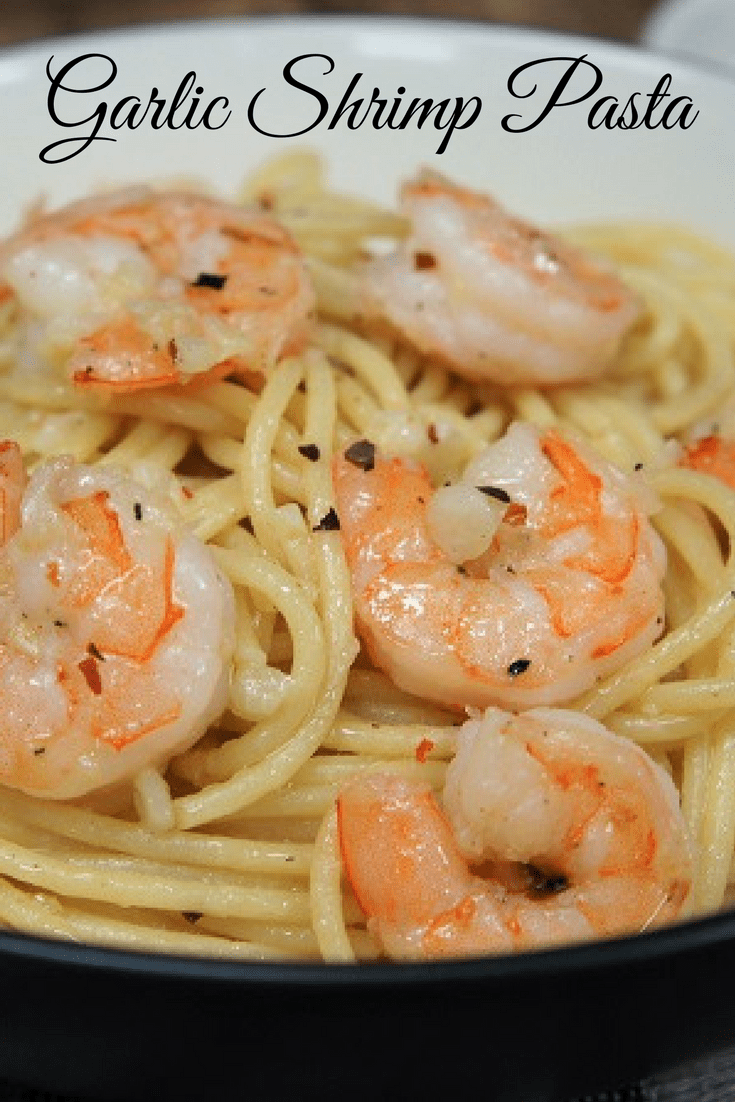 This garlic shrimp pasta is our go-to dinner for really busy nights. A generous amount of garlic is gently sautéed in olive oil. Then the shrimp is cooked in this delicious oil, lightly seasoned with salt, black and crushed red pepper and tossed with pasta. #garlicshrimppasta #garlicshrimp #pasta #easydinners #pasta #shrimp