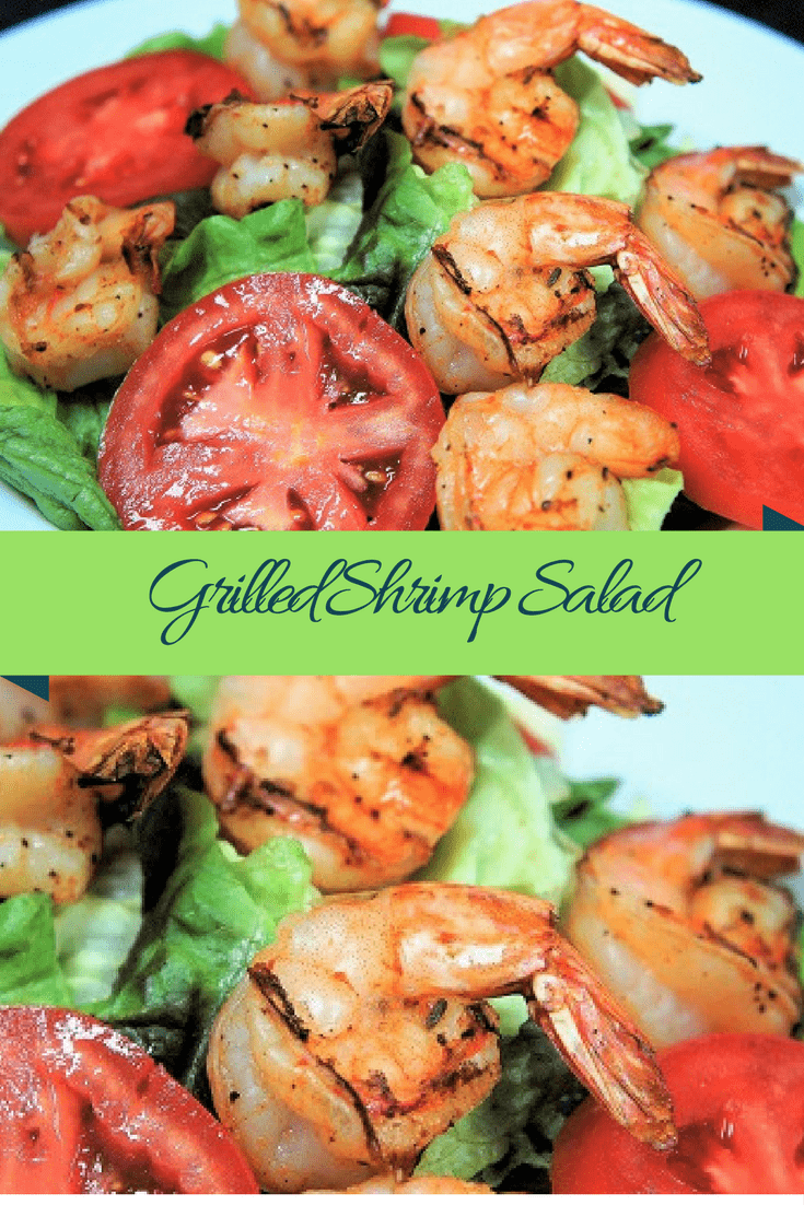 This grilled shrimp salad is light, refreshing and delicious. Large shrimp are skewered and seasoned with just a little sprinkle of blackening seasoning. That's it. Grill them up, prep a simple salad and dinner is done, perfect for hot summer nights! #grilledshrimpsalad #grilledshrimp #salads #summersalads #summertime