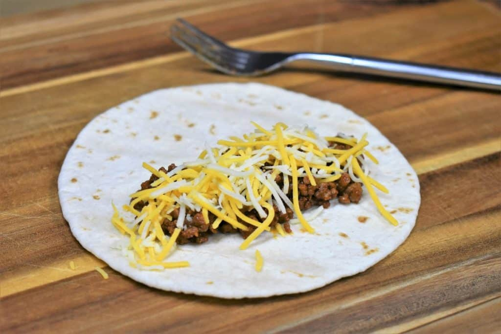 Ground Beef and Cheese on a Flour Tortilla