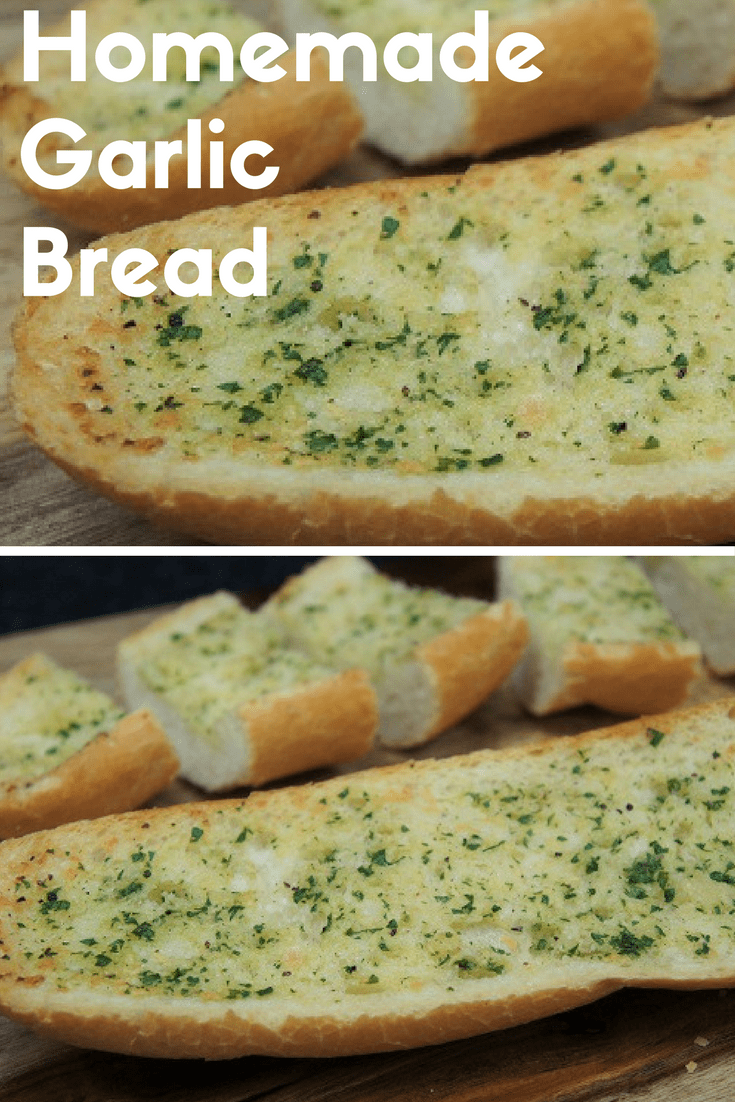 This easy-to-make, homemade garlic bread makes a wonderful side to a soup, or a quick pasta dinner. As a bonus, you probably have most of the ingredients you need in your pantry and fridge already. Just pick up a loaf of bread and some fresh parsley at the market, and you're on your way to delicious, garlicky bread. #homemadegarlicbread #garlicbread #garlic #sides #sidedishes