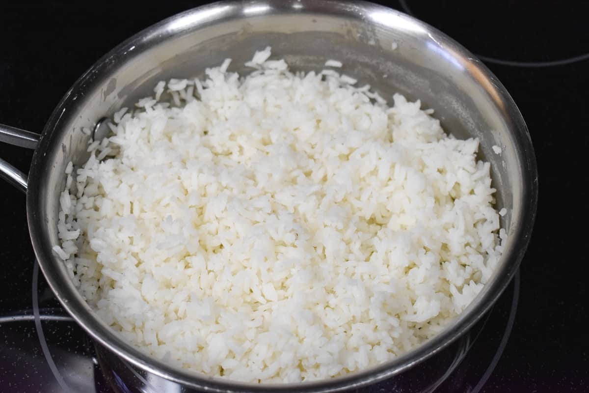A close up image of the finished rice in the saucepan.