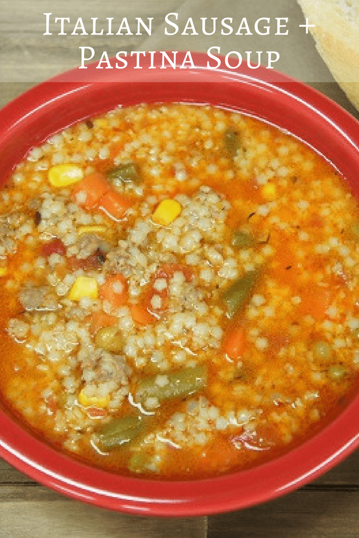 This Italian Sausage and Pastina Soup is delicious and really easy to make. It's loaded with Italian sausage, vegetables and pasta. The pastina - which is tiny pasta pieces - thickens the soup, so it's hearty. #italiansausagepastinasoup #soup #italiansausage
