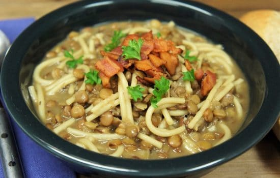 Lentils with Spaghetti & Bacon