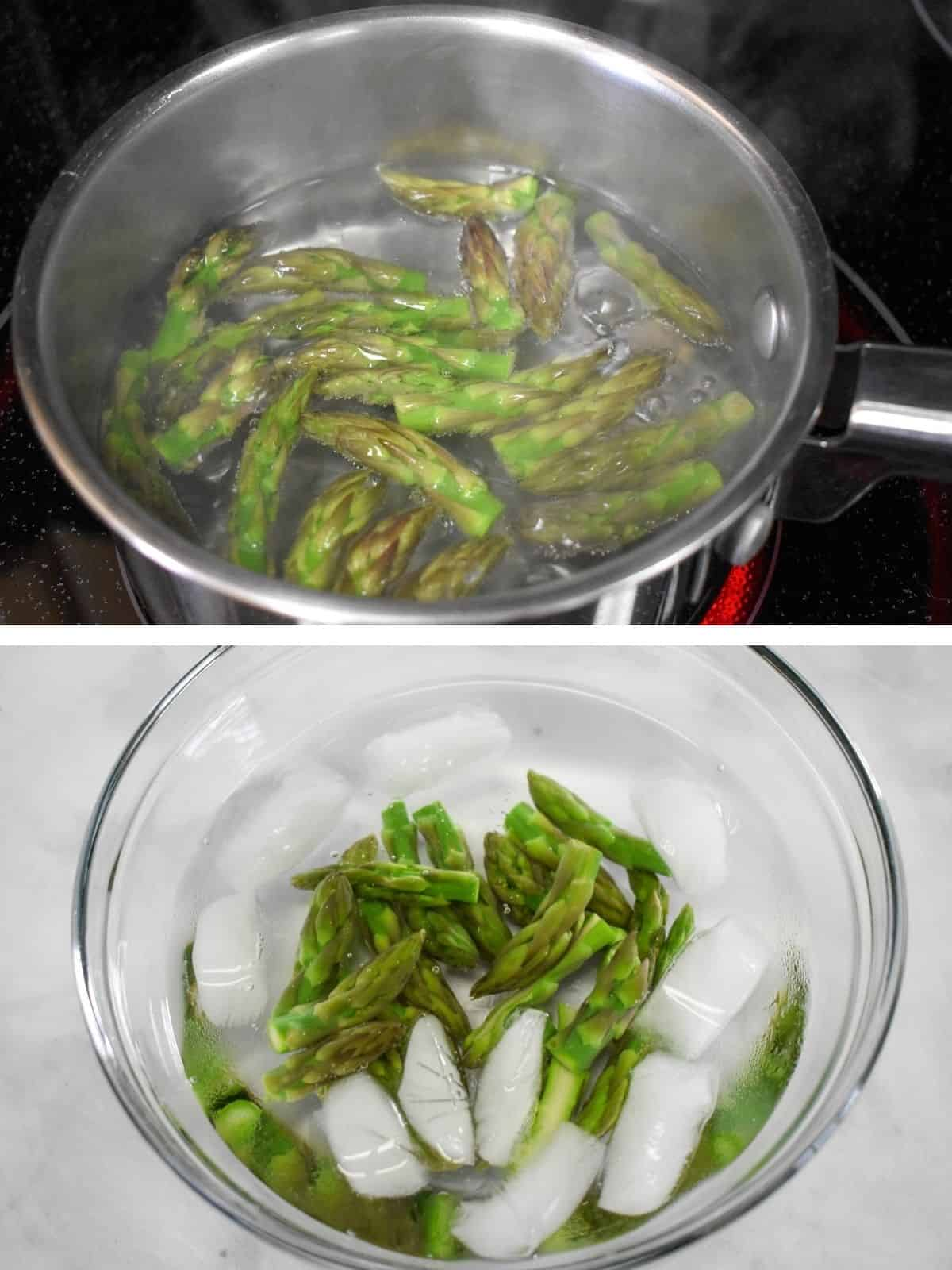A collage showing two images, the top one is asparagus tips boiling in a small saucepan. The bottom one is the asparagus tips in a bowl of ice water.
