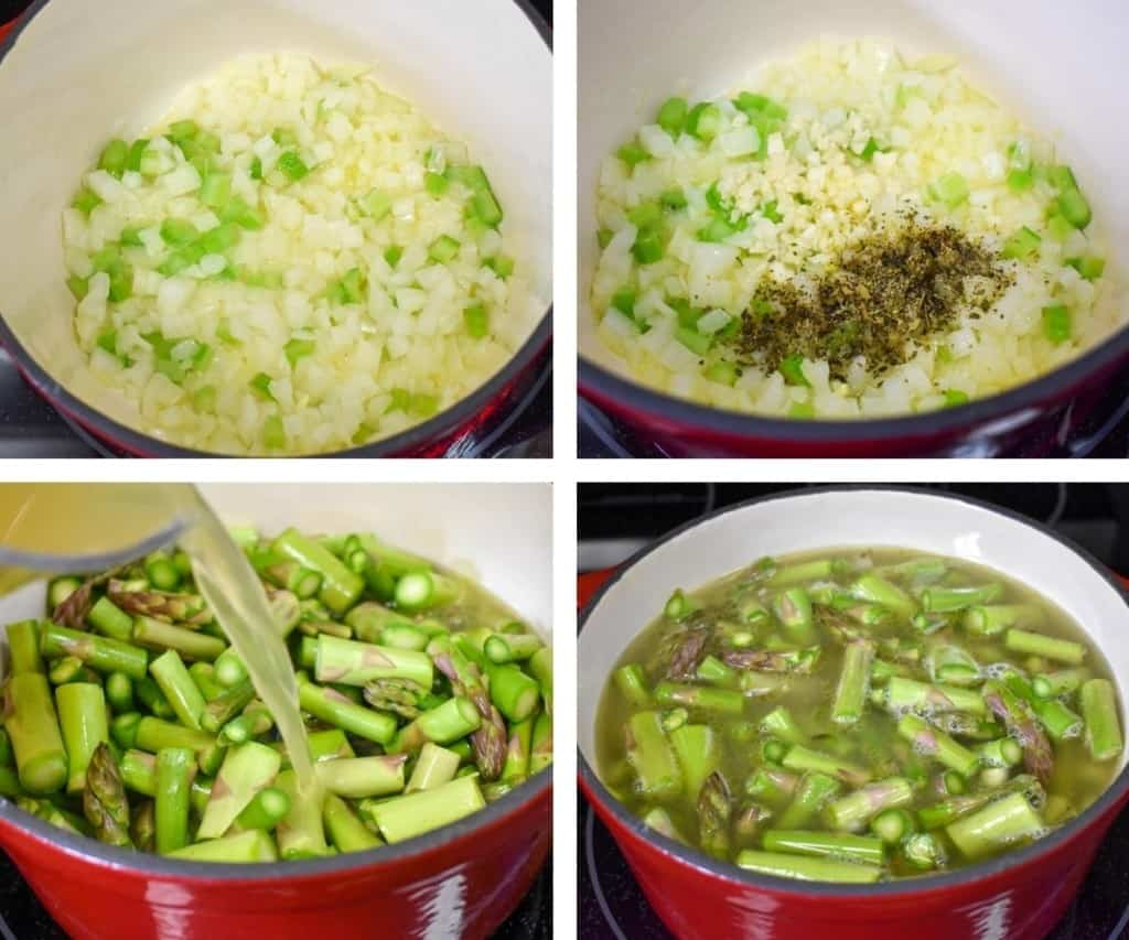 A collage of four images showing the steps to making asparagus soup.