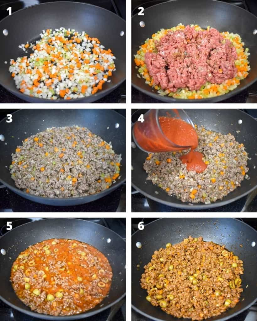 A collage of six images illustrating the steps to making the filling.