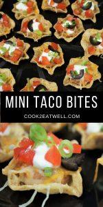 Mini Taco Bites served on a black tray.