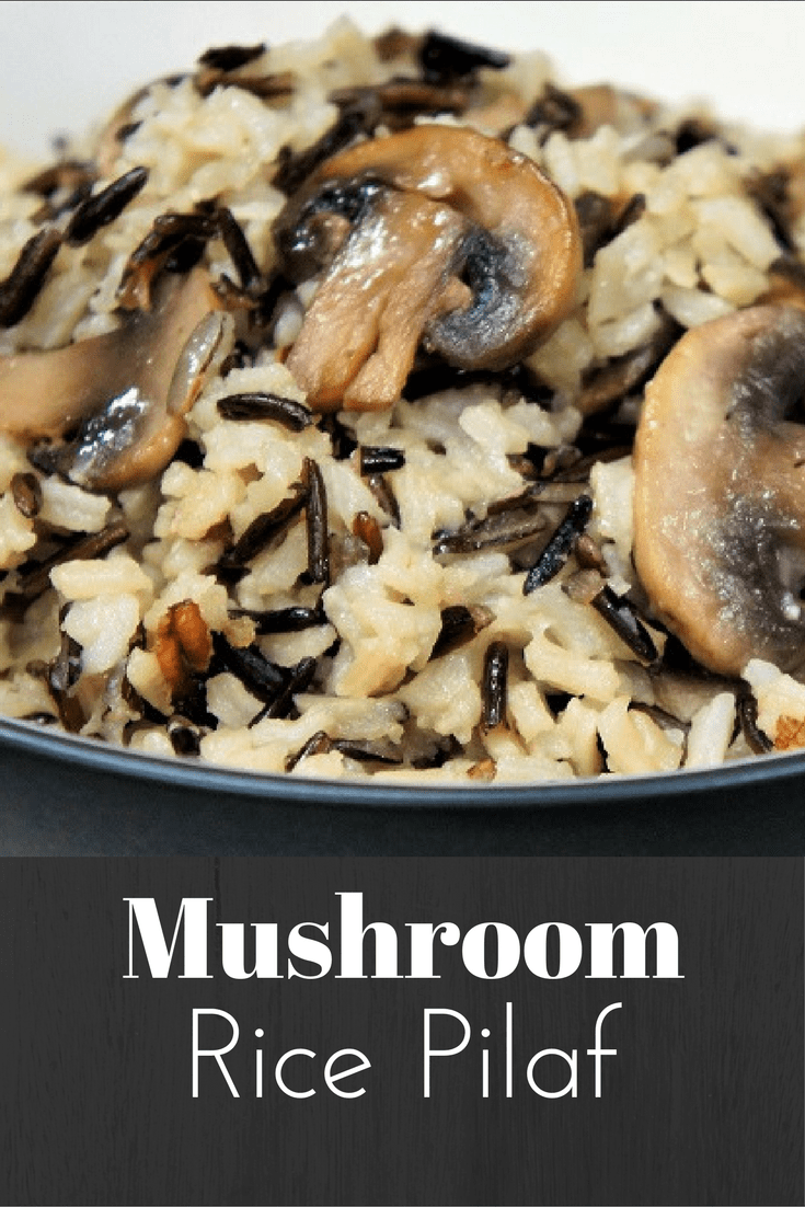 If you are looking for a nice rice side dish, this mushroom wild rice pilaf is just the thing. Long grain white rice, wild rice and sautéed mushrooms combine to make a delicious side dish. Pair this rice pilaf with chicken, fish, or pork chops and add a side of steamed veggies for a great meal. #mushroomricepilaf #mushrooms #wildrice #rice #sides #sidedishes