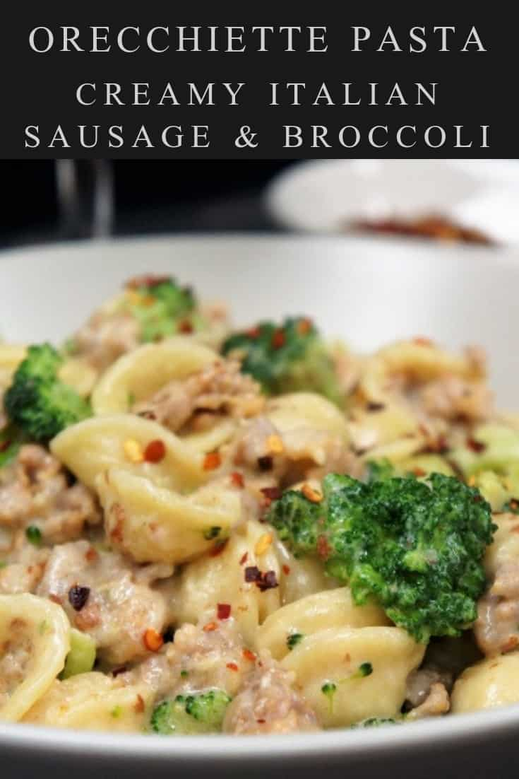 This orecchiette with Italian sausage and broccoli is a quick, easy and filling dinner that your family will love. The Italian sausage flavors the sauce beautifully keeping the number of ingredients to a minimum. Plus, using milk instead of cream keeps the creamy sauce light. When I make this pasta dinner, I don't expect leftovers! #orecchiettepasta #easypastadinners