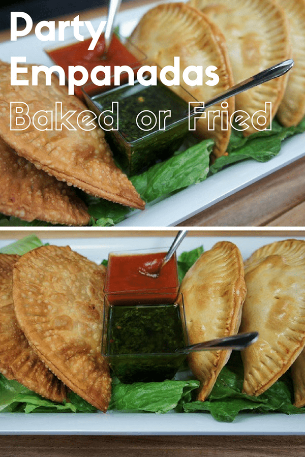 These party empanadas are stuffed with lean ground turkey, vegetables and spices. They're small, making them perfect for parties. This recipe includes instructions for both frying and baking the empanadas, they're delicious either way. #partyempanadas #empanadas #Cubanfood #partyfood #appetizers