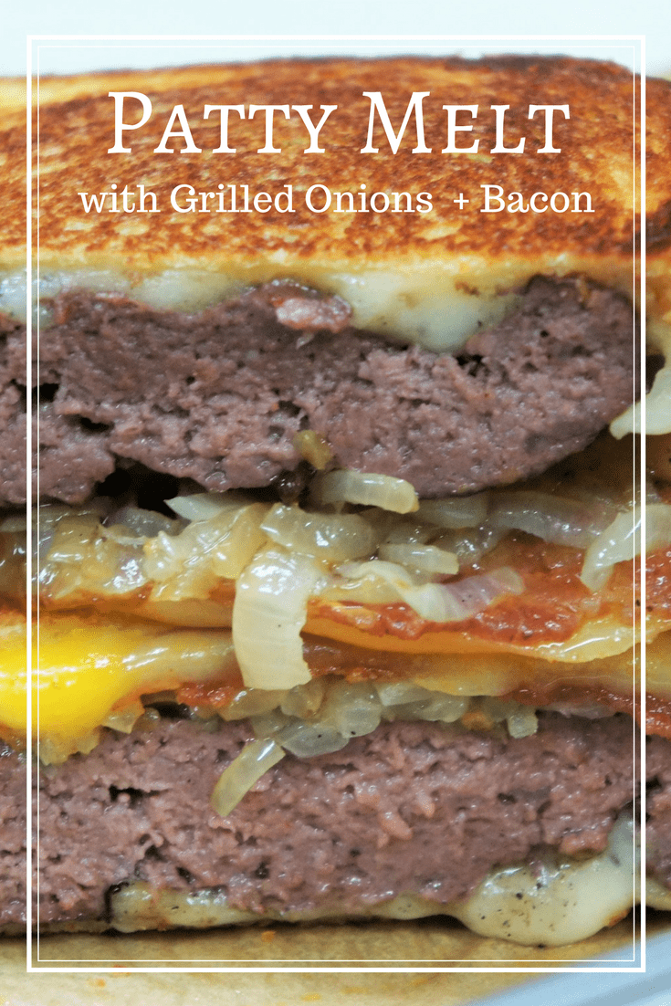 These Patty Melts start with simply seasoned ground beef patties that are grilled to taste. Then they get a generous amount of cheese, perfectly grilled onions and crispy bacon. All this goodness is stacked in between white sandwich bread, then cooked grilled-cheese-style with plenty of butter. #pattymelt #burgers #grilling #summertime #barbeque