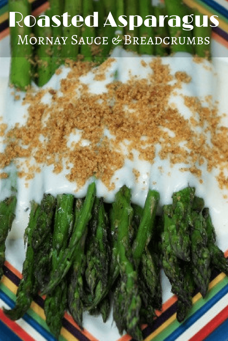 This Roasted Asparagus makes a delicious, easy-to-make side dish. In this recipe, asparagus is lightly brushed with olive oil, seasoned with salt and black pepper and roasted. We serve the asparagus with a cheese sauce (mornay) and crunchy breadcrumbs. #roastedasparagus #asparagus #vegetables #sidedishes #sides