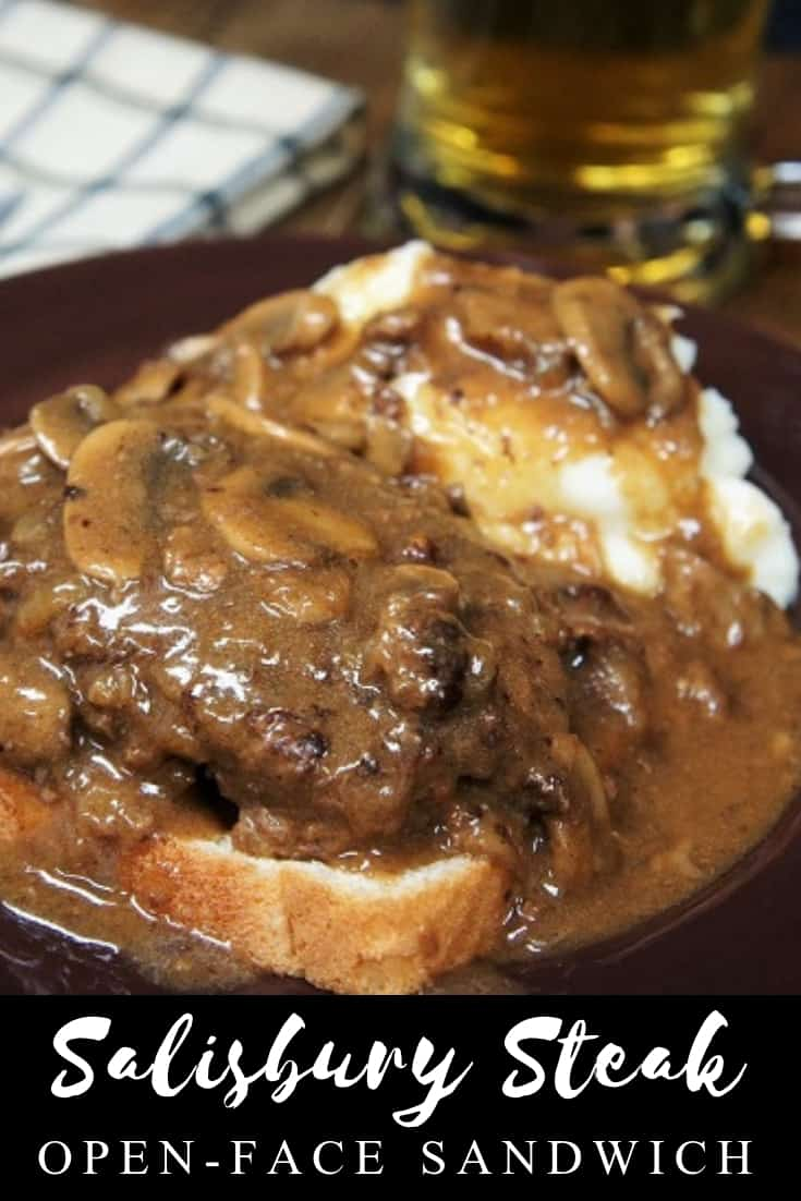 This Salisbury Steak Open-Face Sandwich is comfort food at its best! Perfectly seasoned lean ground beef is smothered in a flavorful deep-brown onion and mushroom gravy, and served on a slice of white bread. #salisburysteaksandwich #salisburysteak #comfortfood