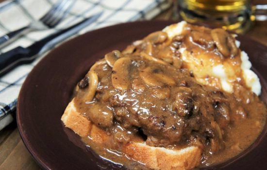 Salisbury Steak Open-Face Sandwich