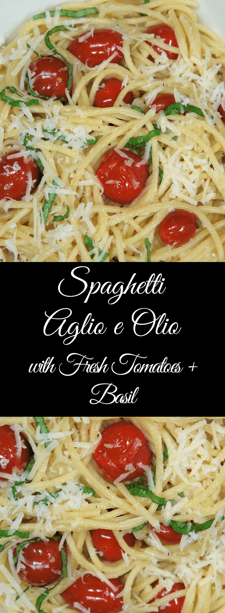 If you're looking for a quick, affordable and delicious meal to serve your family on busy weeknights, this spaghetti aglio e olio with fresh tomatoes & basil is just the thing. #spaghettiaglioeolio #aglioeolio #spaghetti #pastadinners #pasta #easydinners #garlicpasta