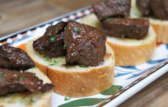 Steak Tidbits on Garlic Toast