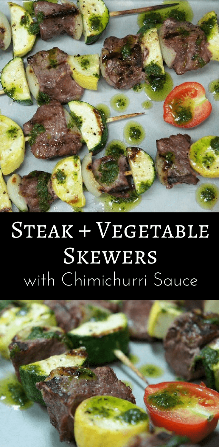 These steak & vegetable skewers are great for a summertime barbeque. Pieces of beef round, zucchini, yellow squash and onions are skewered, and grilled. Then, they're served with a super flavorful chimichurri sauce. #steakskewers #steak #beef #grilledsteak #chimichurri #barbeque #summertimemeals