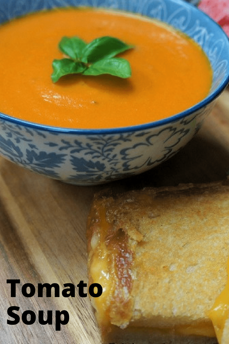 This tomato soup is really easy to make, and for a soup, it comes together pretty quick. Pair the tomato soup with a delicious, melted grilled cheese sandwich or a generous piece of crusty, warm bread and you'll have a meal you won't soon forget. #tomatosoup #tomatoes #soup #comfortfood