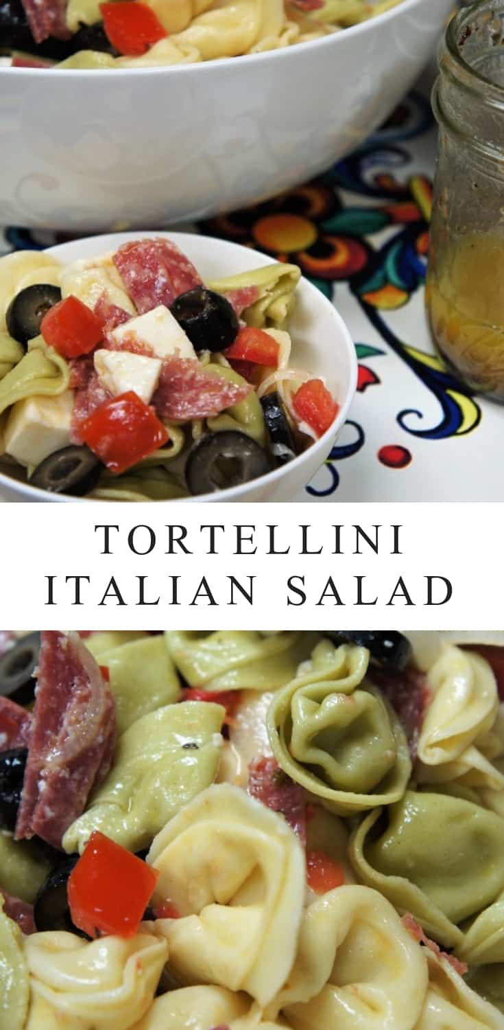 This Tortellini Italian Salad is as beautiful as it is delicious. It comes together quickly and the only cooking involved is boiling the tortellini, making it perfect for the busy party host, or for those hectic weeknights. #pastasalad #tortellini #easydinners