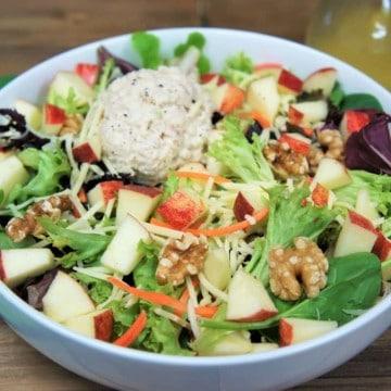 Tuna Apple White Cheddar Salad in a white bowl